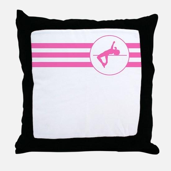 High Jump Stripes (Pink) Throw Pillow