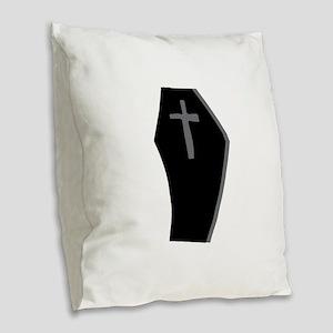 Coffin with Cross Burlap Throw Pillow