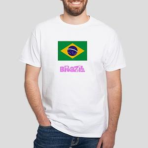 Brazil Flag Pink Flower Design T-Shirt