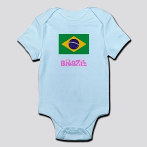 Brazil Flag Pink Flower Design Body Suit