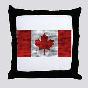 Distressed Canada Flag Throw Pillow