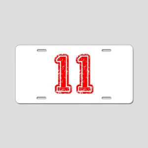 11-Col red Aluminum License Plate