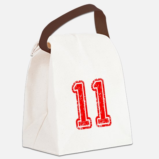 11-Col red Canvas Lunch Bag
