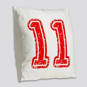 11-Col red Burlap Throw Pillow