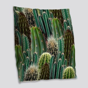 CACTUS PATCH Burlap Throw Pillow