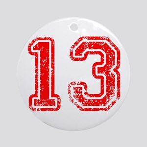 13-Col red Ornament (Round)