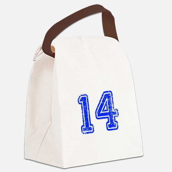 14-Col blue Canvas Lunch Bag