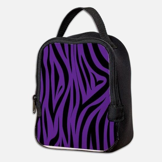Zebra Stripes Purple Neoprene Lunch Bag
