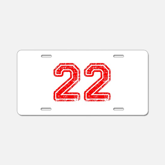 22-Col red Aluminum License Plate