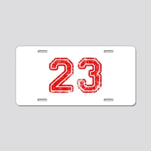 23-Col red Aluminum License Plate