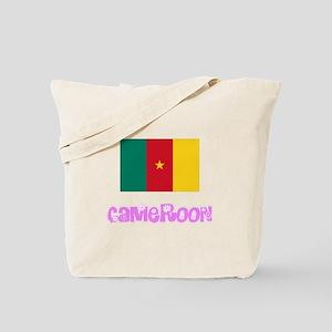 Cameroon Flag Pink Flower Design Tote Bag
