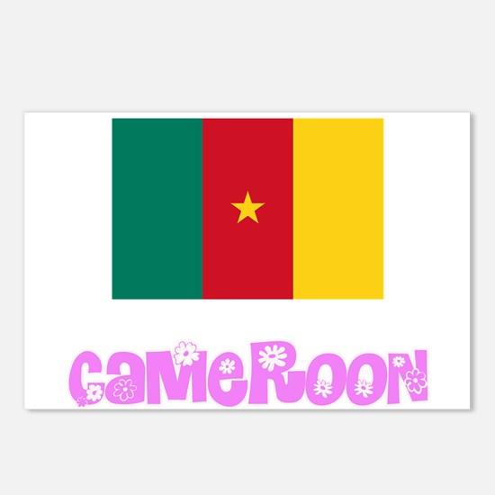 Cameroon Flag Pink Flower Postcards (Package of 8)