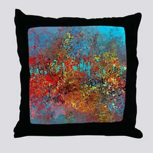 Abstract in Turquoise, Red, Yellow, B Throw Pillow