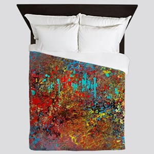 Abstract in Turquoise, Red, Yellow, Bl Queen Duvet