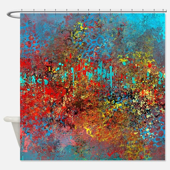 Red And Turquoise Shower Curtain. Abstract in Turquoise  Red Yellow Shower Curtain Black And Curtains CafePress