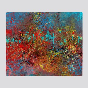 Abstract in Turquoise, Red, Yellow,  Throw Blanket