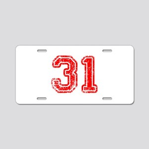 31-Col red Aluminum License Plate