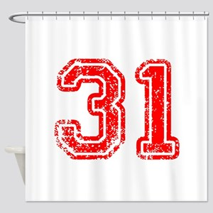 31-Col red Shower Curtain
