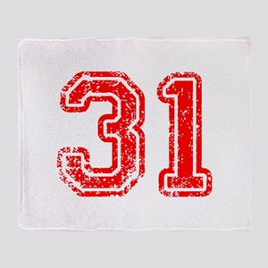 31-Col red Throw Blanket