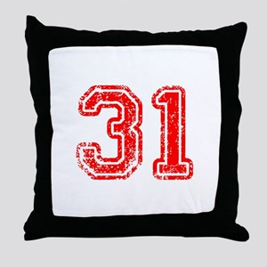 31-Col red Throw Pillow