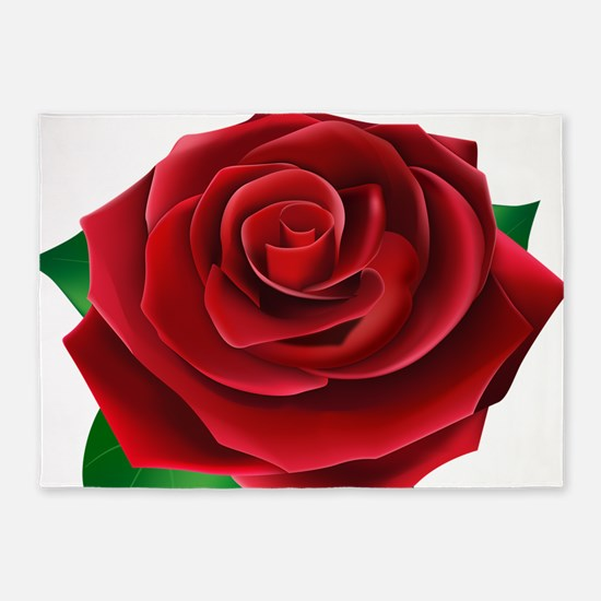 Red Rose 5 X7 Area Rug