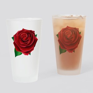 Red Rose Drinking Glass