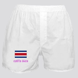 costa rica Flag Pink Flower Design Boxer Shorts