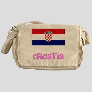 Croatia Flag Pink Flower Design Messenger Bag