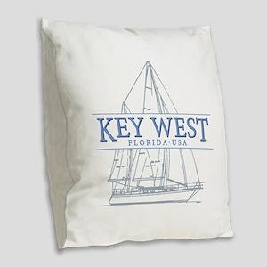 Key West Sailboat Burlap Throw Pillow
