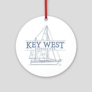 Key West Sailboat Round Ornament