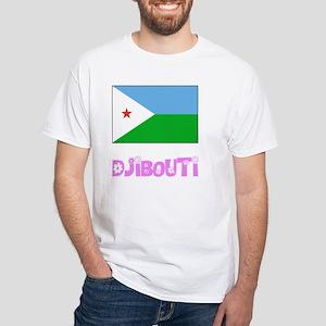 Djibouti Flag Pink Flower Design T-Shirt
