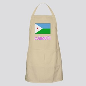 Djibouti Flag Pink Flower Design Light Apron