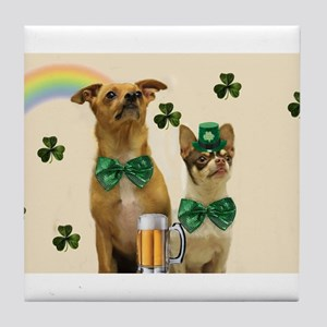 St. Patrick's Day Chihuhuas Tile Coaster