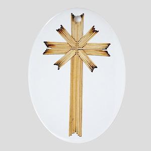 Matchstick cross Oval Ornament