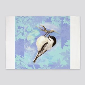 Watercolor Chickadee Bird Searching for Food 5'x7'