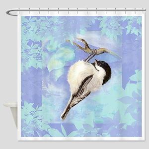 Watercolor Chickadee Bird Searching for Food Showe