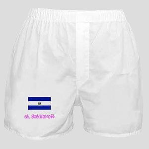 El Salvador Flag Pink Flower Design Boxer Shorts