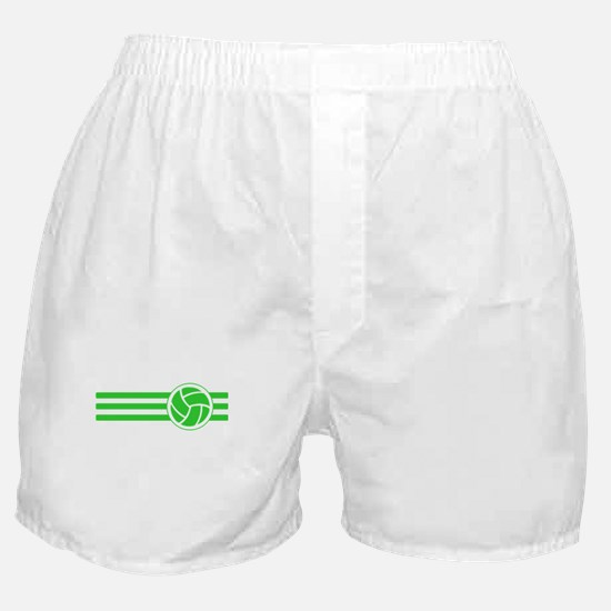 Volleyball Stripes (Green) Boxer Shorts