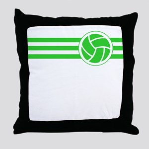 Volleyball Stripes (Green) Throw Pillow