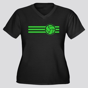 Volleyball Stripes (Green) Plus Size T-Shirt