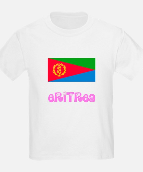 Eritrea Flag Pink Flower Design T-Shirt