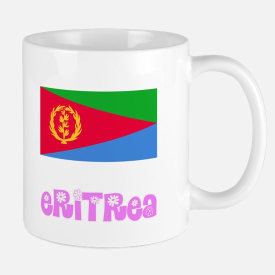 Eritrea Flag Pink Flower Design Mugs