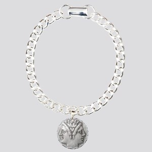 Ancient Coin Showing Janus Round Charm Bracelet