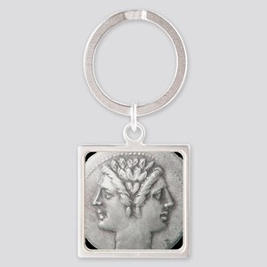 Ancient Coin Showing Janus Round Charm Keychains