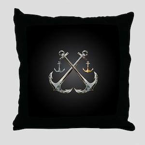 Shiny Anchors Throw Pillow