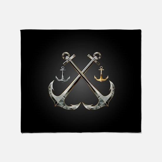 Shiny Anchors Throw Blanket