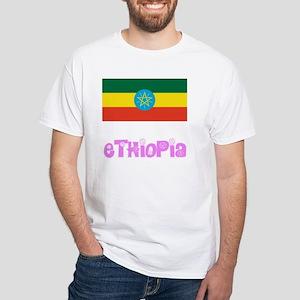 Ethiopia Flag Pink Flower Design T-Shirt