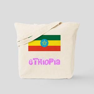 Ethiopia Flag Pink Flower Design Tote Bag