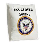 USS GLOVER Burlap Throw Pillow