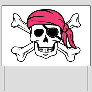 Pink Pirate Yard Sign